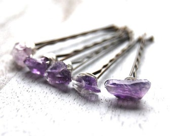 Amethyst bobby pins | Raw gemstone bobby pins | Purple bobby pins | Amethyst hair pins | Hair accessory | Hair pin | Hair jewelry | Hair