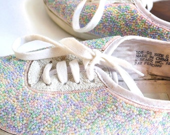 vintage hand beaded candy colored leather sneakers vintage 1980s . size 6 us 3 uk 36 eu