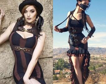 Gothic Skirt - Steampunk Skirt - Striped Skirt - Beetlejuice Dress - Gothic Dress - Steampunk Dress - Made to Order - Two Order Deal
