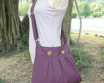 Summer Sale 10% off purple cotton canvas travel bag / shoulder bag / messenger bag / diaper bag / cross body bag, zipper closure