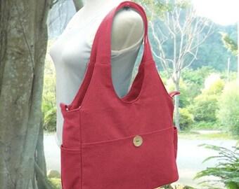 Summer Sale 10% off Red canvas shoulder bag, tote bag for women, fabric diaper bag, women's messenger bag