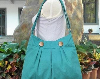 Holiday On Sale 10% off Turquoise green cotton canvas travel bag / shoulder bag / messenger bag / diaper bag / cross body bag, zipper closur
