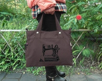 Holiday On Sale 10% off Brown canvas messenger bag / shoulder bag / laptop bag / brief case / diaper bag / tote bag / travael bag