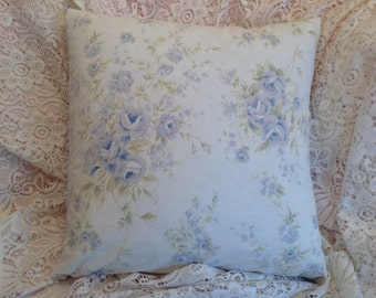 Shabby Chic pillow cover blue and white roses Retired Rachel Ashwell fabric