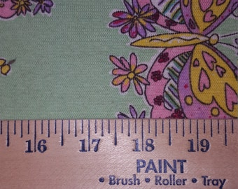 Pretty Spring Lavender and Yellow Butterfly on Mint Green Cotton Knit FAbric