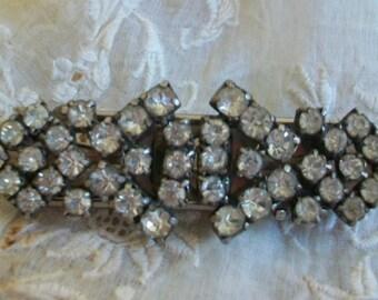 Vintage duette dress clip, vintage brooch pair, 30s dress clips, rhinestone duette, art deco duette, rhinestone brooch, brooch