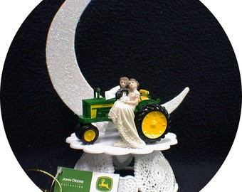 Country Western John DEERE Tractor Wedding Cake Topper Farmer Barn Theme or glasses, Knife or book