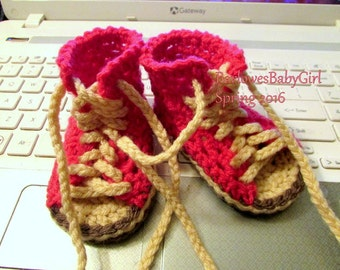 NEW - Buggs - Crochet Baby Hi Top Sneaker Sandal in Bright Pink - Customize Your Colors