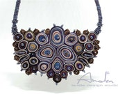 Statement necklace, textile necklace blue, bib necklace - Handmade textile jewelry OOAK for order