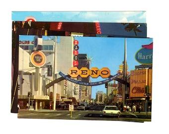 4 Vintage Reno Nevada Chrome Postcards Blank - Wedding Guestbook