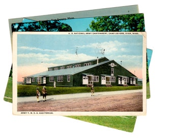4 Vintage Fort Devens Massachusetts Postcards Used