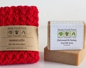 Bath Set Gift Set, Soap and Washcloth Gift Set for women, Bridesmaid Gift for women, Natural soap, red wash cloth, Valentines Gift, Birthday
