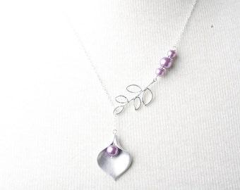 Bridesmaid necklace, silver calla necklace, purple wedding jewelry, purple pearl necklace, bridesmaid gift, Maid of honor gift, Bridal