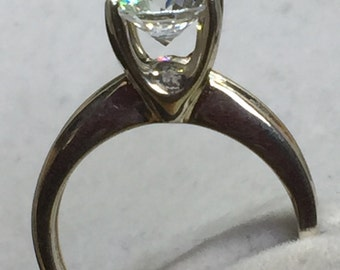 925 Sterling Clear DQ Diamonique CZ Solitaire Ring Size 5 1/4 US