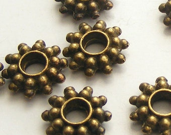 Antique Brass Daisy Spacer Beads (14 pcs) 9mm Z-N1184-AB