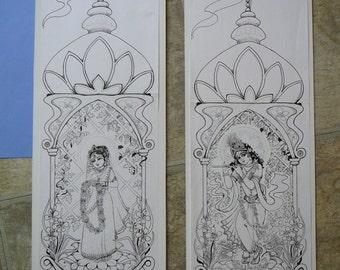 Radha Krishna ink on Card temples enshrining  Original art work 7x20 also prints and greeting cards