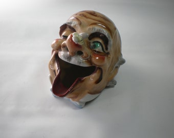 Vintage Ceramic Big Mouth Silly Face Man with Bug on Nose Ashtray