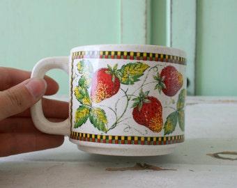 Vintage Wild STRAWBERRY Mug....retro housewares. strawberry. daisy. drink. serve. kitsch. coffee mug. tea. housewarming. berries. pie. cook