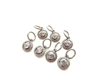 7 Rhinestone Drop Charms set In Textured silver setting