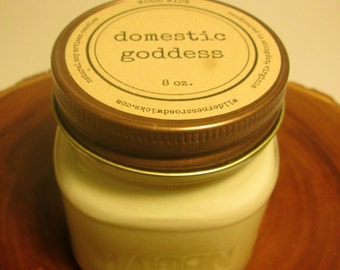 Domestic Goddess 8 oz. Soy Mason Jar Candle //  Wood Wick // Fresh/Clean/Laundry Scent