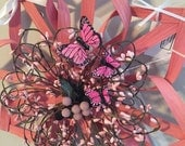 "SALE - Save 20% Now - Valentine's Day Wreath Alternative 14"" Pink With Butterflies"