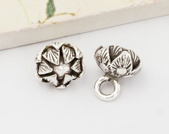 2 of Karen Hill Tribe Silver  Cabbage Charms 11 mm.  :ka4235
