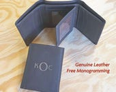 Valentine's Day for Men - Personalized Men's Leather Wallet - Monogrammed Leather Wallet - Bifold or Trifold - Premium Leather