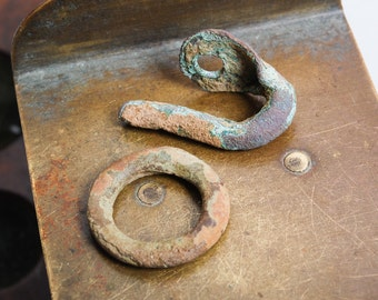Antique brass hook clasp, primitive finding