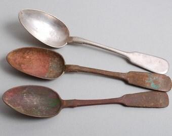 Set of 3 Antique different big, huge metal dinner spoons, dark patina. 1800-1900s