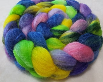 Alpaca/Merino/Tussah Silk Roving-50/30/20-Hand Dyed/Painted - 4 oz - Lime Green, Yellow, Purple, Pink and Blue