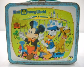 Vintage Aladdin Industries Walt Disney Mickey, Donald Duck, And Goofy Lunch Box Lunch Pail