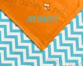 Baby Blanket - Turquoise Chevron MINKY, Orange MINKY Smooth - Parker - BB1