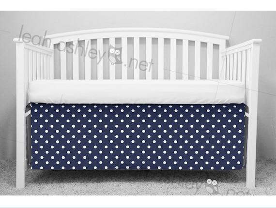 Crib Skirt Bumperless Crib Bedding Navy Polka Dot Cs0