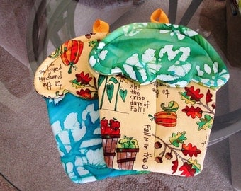 Handmade Fall Harvest Leaves Holiday themed Cupcake oven mitts with orange, brown, purples ribbon material pot holders cute batik fall color