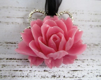 Statement Bright Pink and Black Lotus Pendant Necklace with Bright Pink Lotus with Black Organza Ribbon