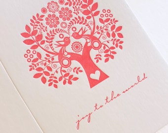 Joy To the World Letterpress Christmas holiday Card Scandinavian Folk Style Red Tree of Life red tree, scandi, retro, love birds Carol