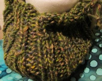 Green handspun handknit cowl