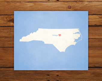 Customized Printable North Carolina State Map Art - DIGITAL FILE - Aged-Look Canvas Wall Art Print