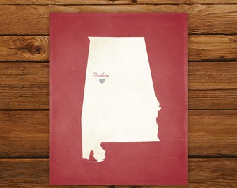 Customized Printable Alabama State Map - DIGITAL FILE, Aged-Look Personalized Wall Art
