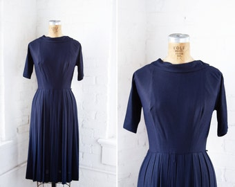 1950s Dress - 50s Dress - Navy Blue Rayon Crepe Pleated Dress