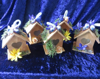 Custom Bird House table decoration  - wedding reception, centerpiece, favor - choose your colors