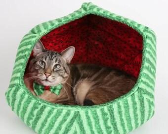 Tutti Frutti Watermelon Fabric Cat Ball Cat Bed