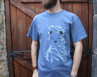 Ribcage Mens Steel Blue Hand Printed - screen printed -  optical illusion -  ribs - biology - anatomical - skeleton -  impossible triangle