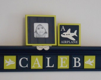 Airplane Nursery Shelf, Airplane Decor Art, Personalized Navy Blue Shelf with Painted Lime Green and Navy