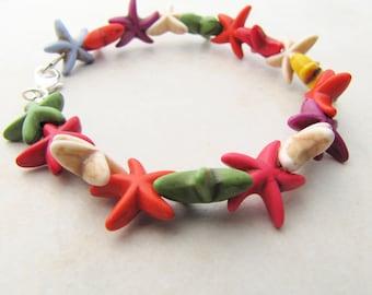 Starfish Bracelet, Beach Bracelet, Ocean Bracelet, Beach Fashion, Rainbow, Howlite, Gemstone, Seashell, Sea Shell, Mermaid, Nautical