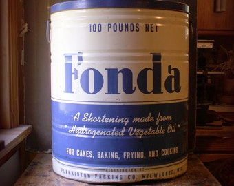 Vintage Large General Store Blue and White Fonda Shortening Tin - Great Retro Kitchen Decor