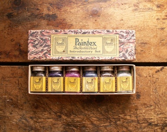 Vintage Box of Paintex Textile Paints for Silk in Original Marbled Paper Box
