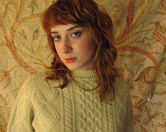 Vintage Cable Knit Wool Fisherman's Sweater medium