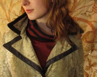 60's  Vintage Mod Lilli Ann Faux Fur Leather Coat med