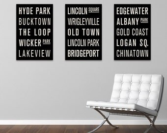 CHICAGO Subway Sign Prints. Bus Scrolls (Collection of 3)